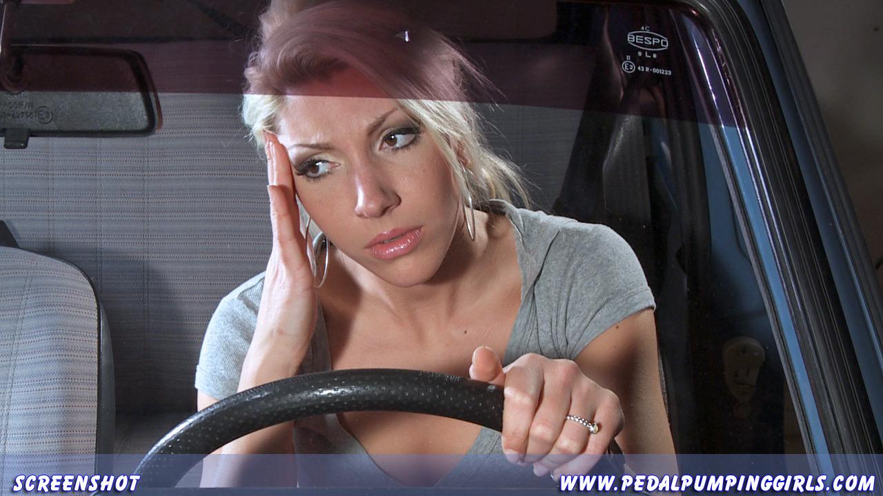 cute blonde girl cranking fiat 126 pedal pumping high
